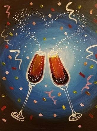 A New Years Toast paint nite project by Yaymaker