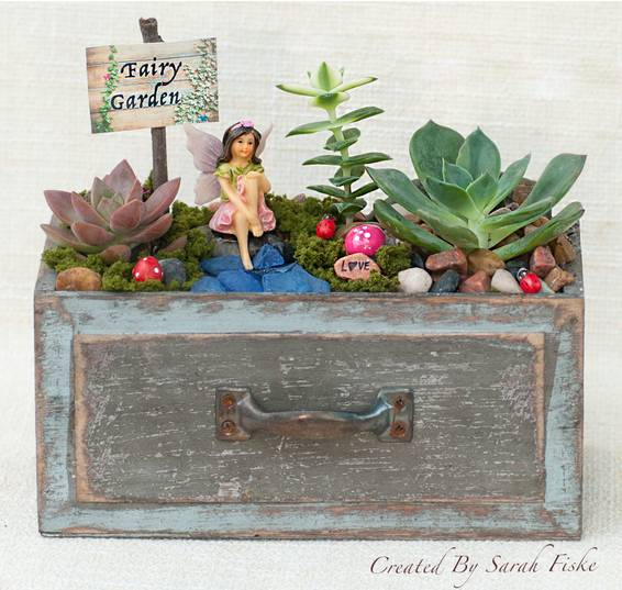 A Fairy Sitting in Wooden Drawer Garden plant nite project by Yaymaker