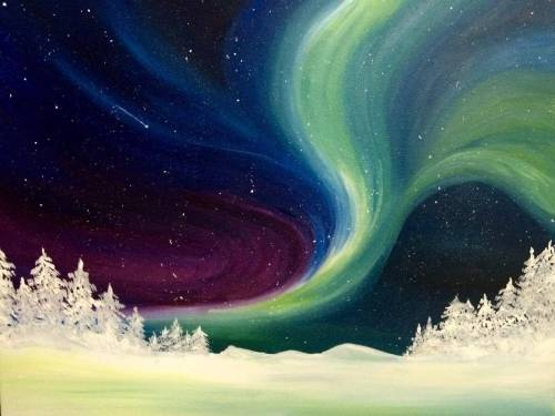 A Winter Bright Northern Lights paint nite project by Yaymaker