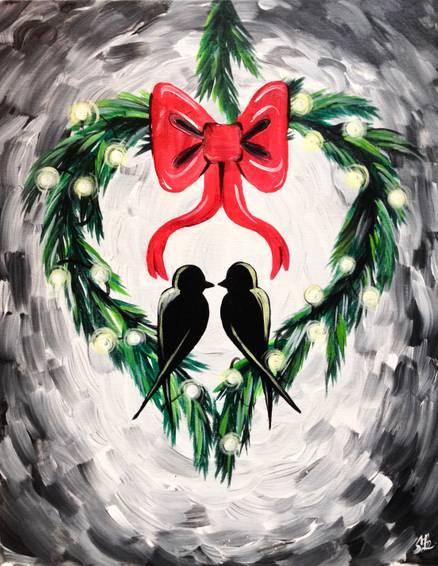 A Winter Wreath Love Birds paint nite project by Yaymaker