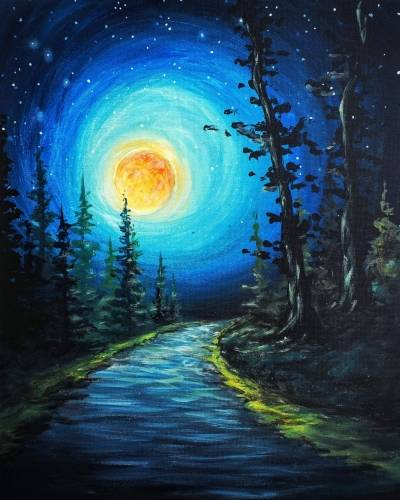 A Moonlit Forest Path paint nite project by Yaymaker