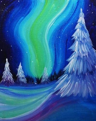 A Winter Northern Lights paint nite project by Yaymaker
