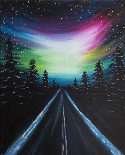 A Winter Road to Northern Lights paint nite project by Yaymaker