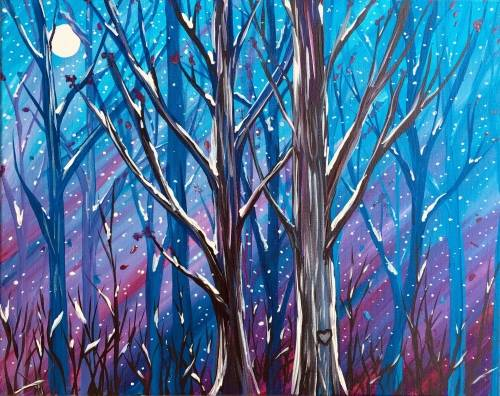 A Midnight Winter Wonderland paint nite project by Yaymaker
