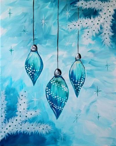 A Icy Blue Ornaments paint nite project by Yaymaker