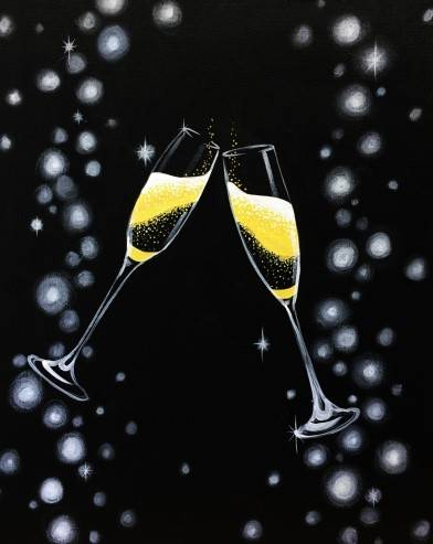A Champagne Toast for the New Year paint nite project by Yaymaker
