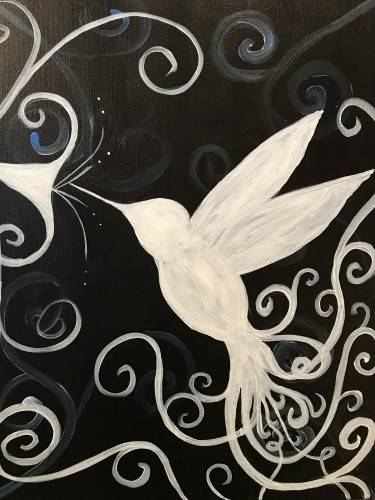 A Fancy White Hummingbird paint nite project by Yaymaker