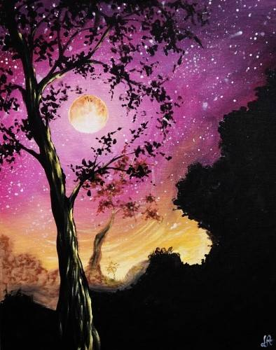 A Starry Moonlit Tree paint nite project by Yaymaker