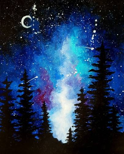A Milky Way in the Pines paint nite project by Yaymaker