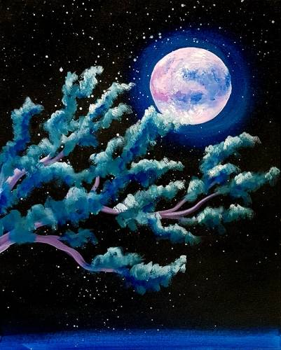 A Moonlight Pine Branch paint nite project by Yaymaker
