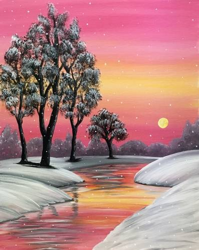 A Snowfall at Amber Creek paint nite project by Yaymaker