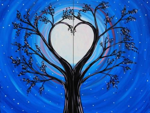 A Moonlit Heart Tree Partner Painting paint nite project by Yaymaker