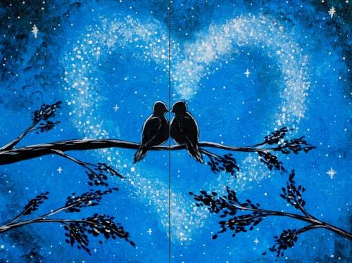A Love in the Stars Partner Painting paint nite project by Yaymaker