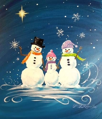 A Create Your Own Snow Family paint nite project by Yaymaker