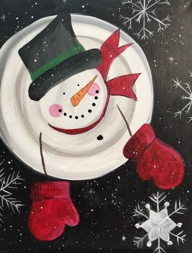 A Winter WIshes Snowman paint nite project by Yaymaker