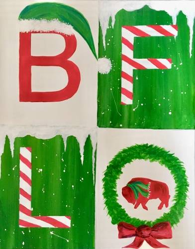 A Buffalo Holiday Sign paint nite project by Yaymaker