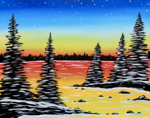 A Frozen Winter Lake paint nite project by Yaymaker