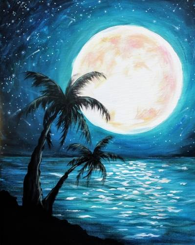 A Teal Moonlit Palms paint nite project by Yaymaker