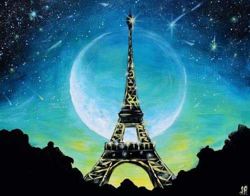 A Moonlit Glowing Paris paint nite project by Yaymaker