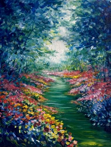 A Garden Path of Colors paint nite project by Yaymaker