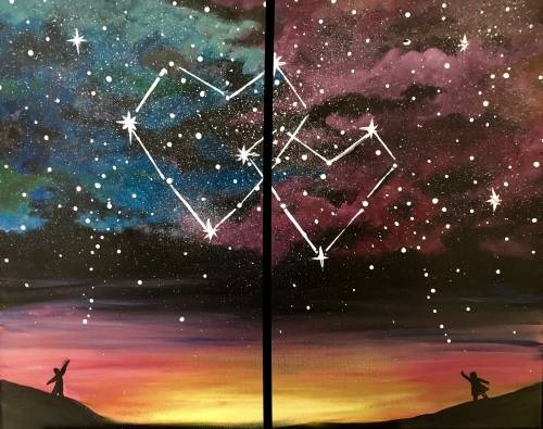 A Written in the Stars  Partner Painting paint nite project by Yaymaker
