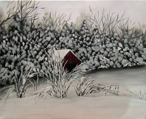 A Snowy Forest Shed paint nite project by Yaymaker