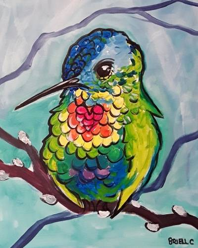 A Radiant Rainbow Hummingbird paint nite project by Yaymaker