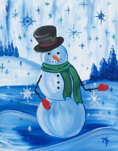 A Mr Snowman and the Red Mittens paint nite project by Yaymaker