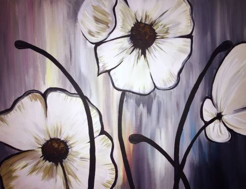 A Whimsical Poppy Flowers paint nite project by Yaymaker