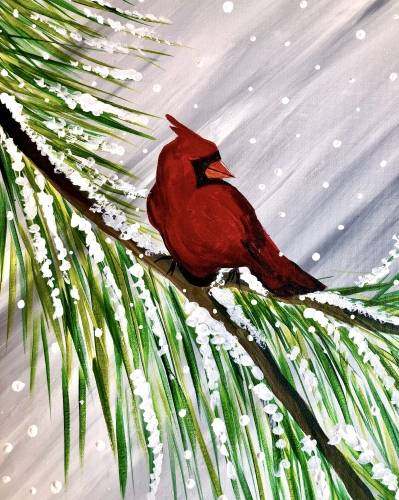 A Winter Cardinal Visit paint nite project by Yaymaker