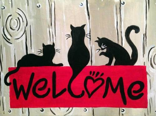 A Cat Welcome paint nite project by Yaymaker