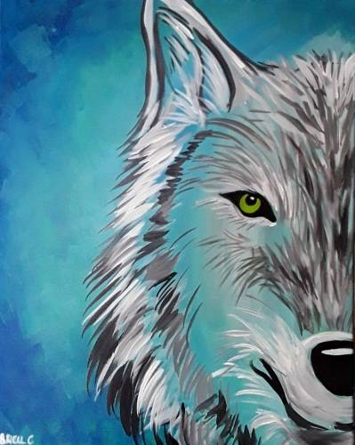 A Howl Blue Wolf paint nite project by Yaymaker