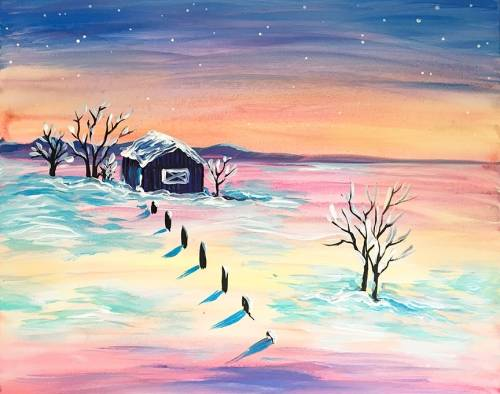A Winter Farm paint nite project by Yaymaker