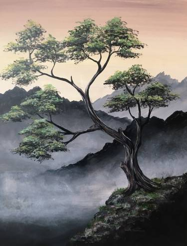 A Misty Mountain Top paint nite project by Yaymaker