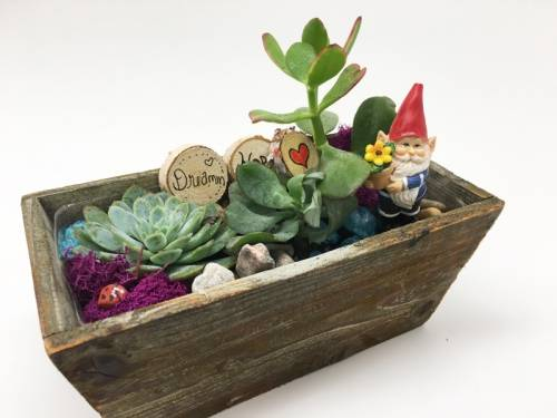 A Gnome in Rectangular Distressed container plant nite project by Yaymaker