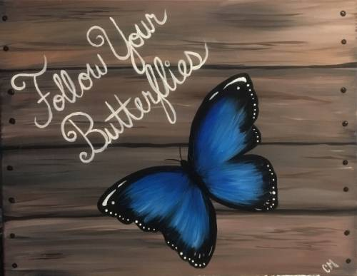 A Follow Your Butterflies paint nite project by Yaymaker