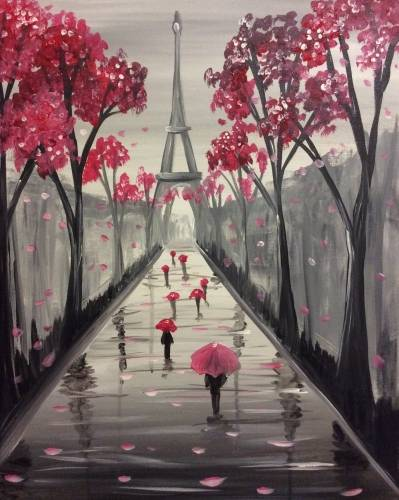 A Rainy Days in Paris paint nite project by Yaymaker