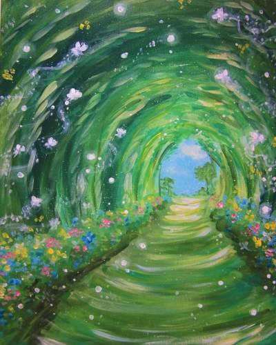 A Magical Lighted Path paint nite project by Yaymaker