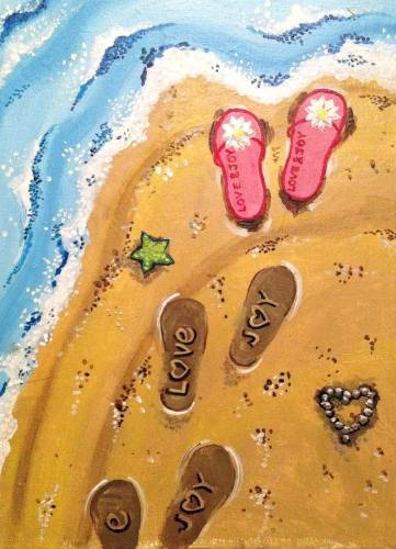 A Flip Flop Beach Love paint nite project by Yaymaker