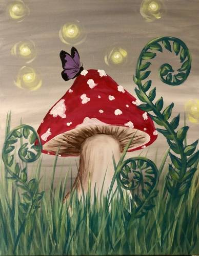 A Whimsical Mushroom Garden paint nite project by Yaymaker