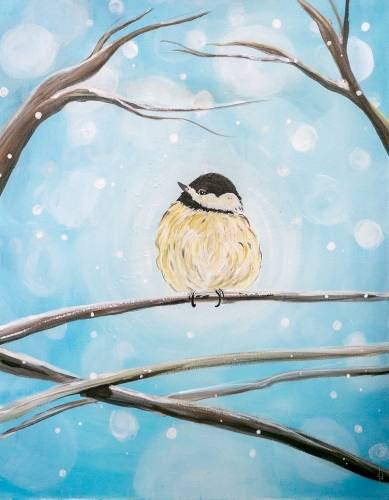 A Chickadees Snowfall paint nite project by Yaymaker