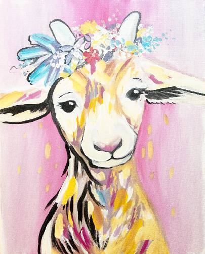A Floral Farm Baby Goat paint nite project by Yaymaker