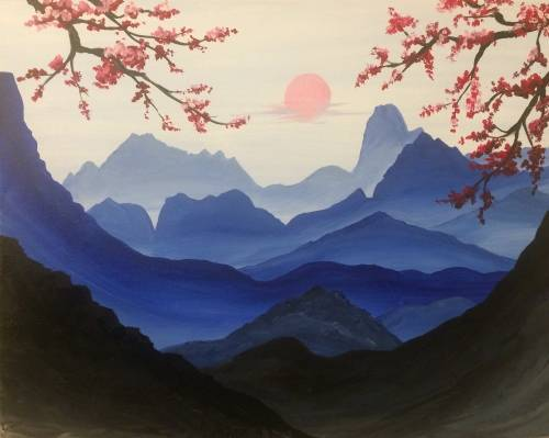 A Blue Mountain Dream paint nite project by Yaymaker