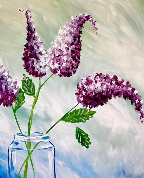 A Farm Table Lilacs paint nite project by Yaymaker