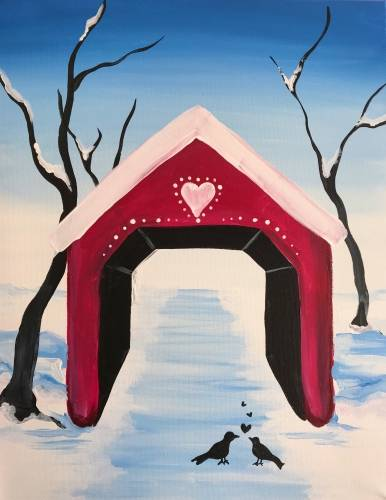 A Love Birds Under Snowy Covered Bridge paint nite project by Yaymaker