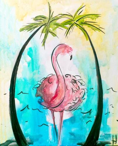 A Fancy Flamingo paint nite project by Yaymaker