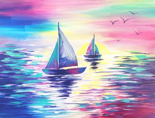 A Sail into the Pink Sunset paint nite project by Yaymaker