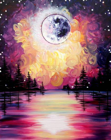 A Moonrise on the Water paint nite project by Yaymaker
