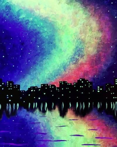 A Northern City Lights BLACK LIGHT paint nite project by Yaymaker