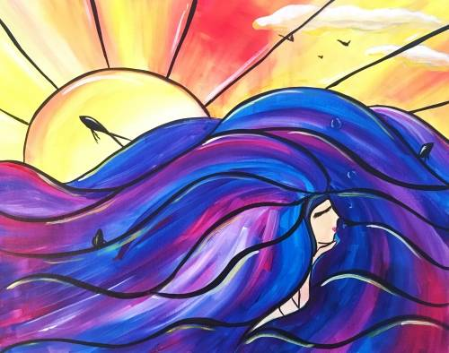A Mermaid In the Waves paint nite project by Yaymaker